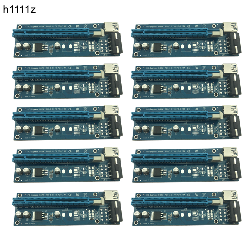 10pcs 60cm USB 3.0 PCI-E PCI Express 1x to 16x Extender Riser Card with SATA 15pin to 4pin Power Cable for Bitcoin Miner Mining stylish bowknot decorated wavy edge beach straw hat for women