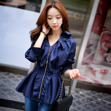 Dabuwawa romantic dark blue ruffled outwear