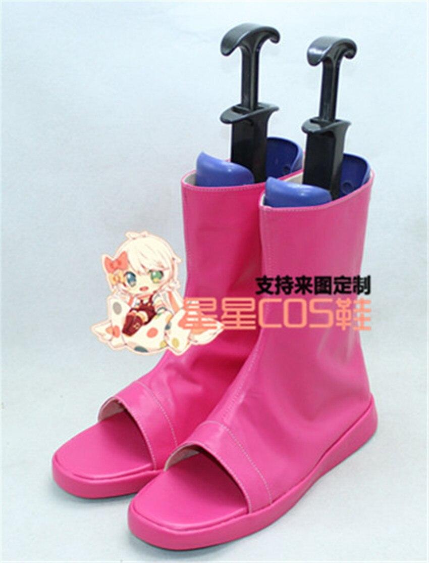 NARUTO Uzumaki Himawari Hima Pink Halloween Cosplay Shoes Boots X002