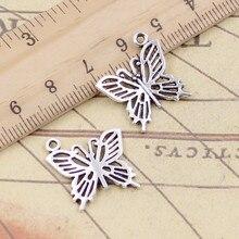 20 pçs encantos oco borboleta 20x19mm tibetano prata cor pingentes antigo jóias fazendo diy artesanal artesanato