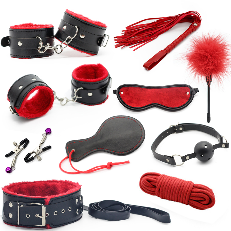10pcs/set Adult Games sex toy soft Leather sexy toys Sex Toys For Couples Slave bondage handcuffs nipple clamps whip gag paddle adult sex products bondage restraints 10 pieces set sex toys for couples handcuffs whip gag for adult slave game erotic toys