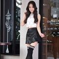 Novo 2016 coreano moda preto vermelho saia de couro PU mulheres Vintage cintura alta saia plissada saias curtas femininos sm LXL 2XL