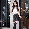 Nuevo 2016 de corea moda negro rojo de la PU falda de cuero Vintage mujer de cintura alta falda plisada falda corta para mujer faldas sm LXL 2XL