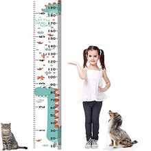 Dinosaur Kids Growth Chart Baby Roll-up Wood Frame Canvas Removable Wall Hanging Height Ruler Wall Art Decor for Nursery Room