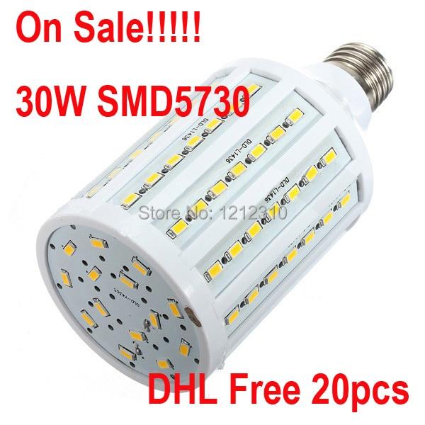 Wholesale 20pcs LED Bulb, E27 30W LED Light 5730 SMD LED Corn Bulb Warm White/Cold White AC110V/220V DHL Free Shipping e27 220v 30w 2800lm 165led 5730sdm white led corn light