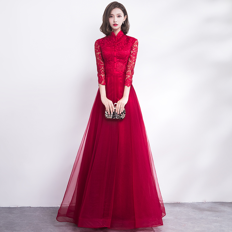 China Wedding Gown: Traditional Chinese Wedding Gown Cheongsam Long Qipao
