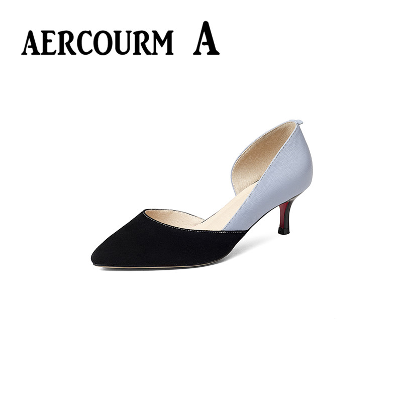 ФОТО Aercourm A Women Genuine Leather Sandals Shoes Sexy Elegant Pointed Toe High Heel Women Shoes Women Pumps Stitching Women Shoes