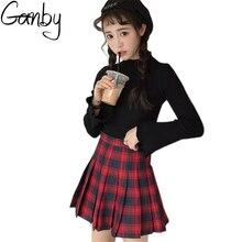 2017 Korean Harajuku Skirts Womens New Fashion Red and Blue Plaid Pleated Skirt Rock Kawaii High Waist Preppy Chic Mini Skirts