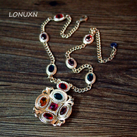 Bohemian retro girls Palace Baroque antiques Colorful Crystal long necklace High quality female jewelry accessories lovers gift