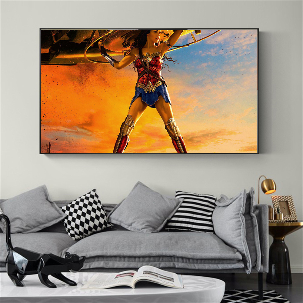 Movie Poster Wonder Woman Oil Painting On Canvas Hand