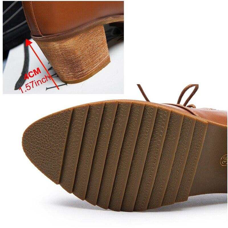 Femmes Dames Hiver Silentsea up Bottes Vent black Simples Chaussures Martin Pointu Apricot brown Sauvage De Collège Pompes Rugueux Avant Dentelle r5rdqw0