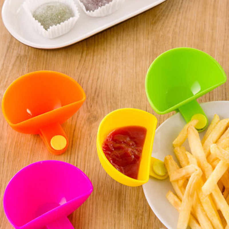 1pc Chic Mini Plastic Clip Multi-Functional Seasoning Dishes For Tomato Sauce Salt Vinegar Sugar Flavor Spices Kitchen Tools