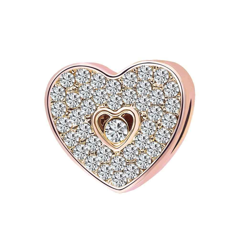 2019 nuovo 1pc rosa in oro rosa orso openwork cuore tazza del distanziatore perline fai da te Fit Pandora Braccialetto di Fascino per le donne f049