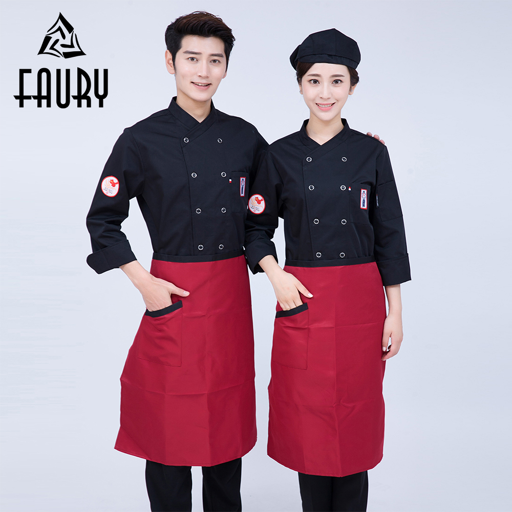 Men's Women's Embroidery Kitchen Cook Clothing Waiter Cafe Bakery BBQ Restaurant Cuisine Uniforms Catering Chef Jackets Overalls