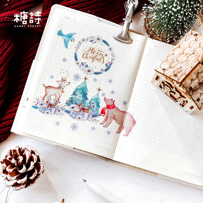 Купить с кэшбэком 40pcs/pack Color forest series sticker kawaii cartoon paper stickers with DIY diary cut-and-paste stationery label stickers