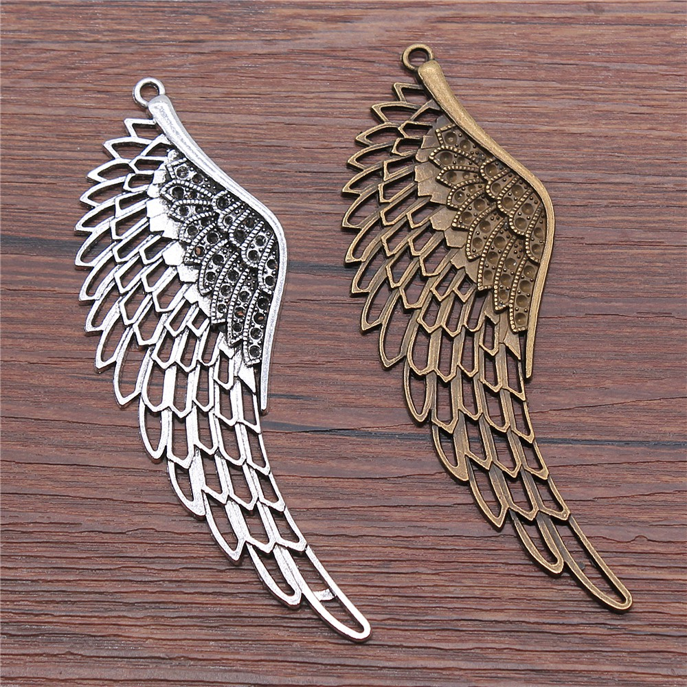 WYSIWYG 1pcs 108mm 2 Colors Antique Silver Antique Bronze Big Wings Charm Pendant Eagle Wing Charm Pendants Large Wing Charms image