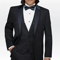 NoEnName_Null Formele 2017 Custom Business Black Wedding Suits Voor Mannen Bruidegom Pak Mannen pak Smoking Beste Man Pak (Jas + broek