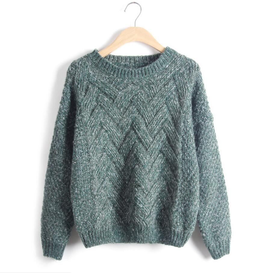 f5d854a820b361 Knitted Sweater Autumn Winter Fashion Designer Twist Chunky Cable Plaid  Thick Knitted Jumper Women Sweaters And Pullovers-in Pullovers from Women s  Clothing ...