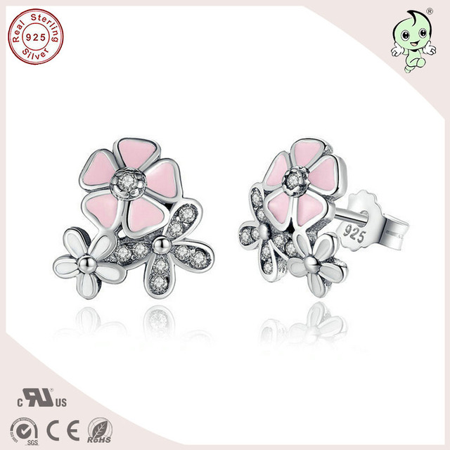 Newest Arrival Partysu Love Pink Enamel 925 Sterling Silver Three Flower Design Earring Stud