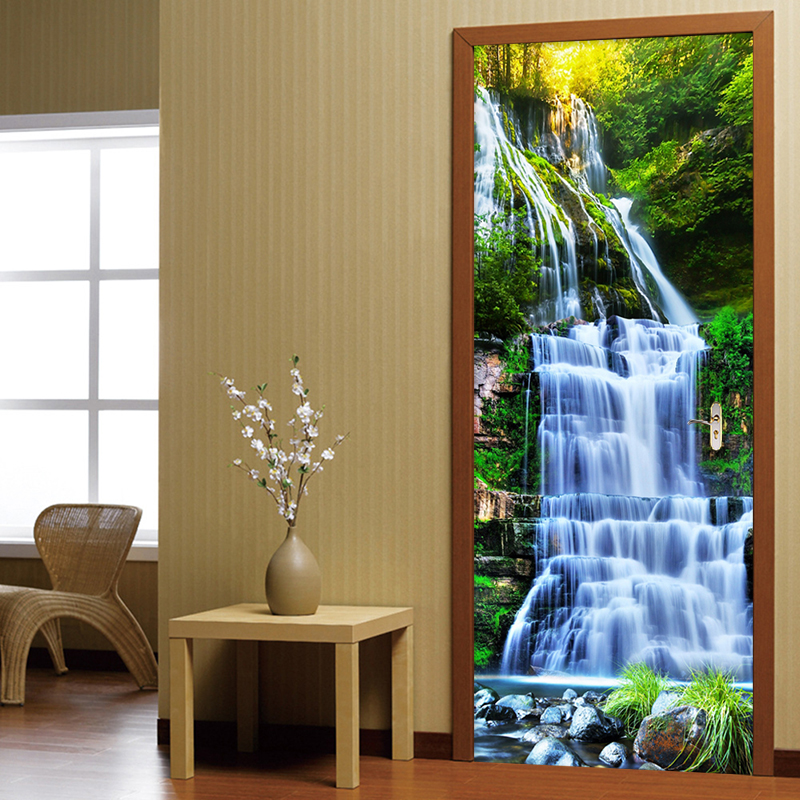 3D Stereo Waterfalls Forests Mural Wallpaper Living Room Study Classic Photo Wall Mural Door Sticker Home Decor Papel De Parede