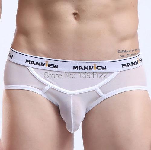 Mens Sexy Gauze Lace Panties Gay Male See Through Sheer Underwear Silk Mesh Raider Breathable Mesh