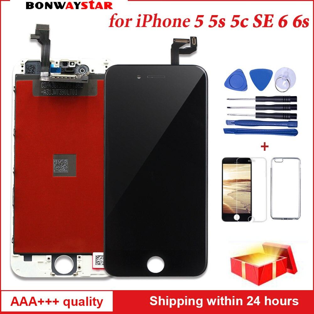 AAA pantalla LCD para iphone 5 5S iphone 6 s 6 s de la Asamblea de pantalla táctil reemplazo Original con digitalizador para iphone 6 5 LCD Panel de mesa
