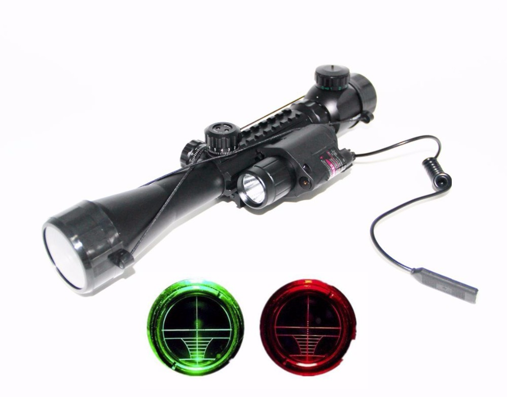 Airsoft 3-9X40EG Rifle Scope Telescopic Sights with 20mm Weaver Rail M6 Red Laser Sight + LED Flashlight for Hunting shooting led weapon x400 handgun flashlight with red laser sight for rifle scope for hunting