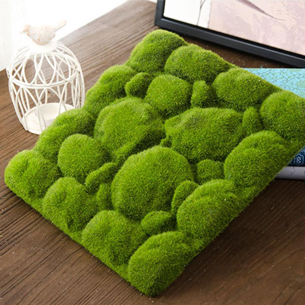 Stone Shape Moss Grass Mat Indoor Green Artificial Lawns Turf Carpets Fake Sod Moss For Home Hotel Wall Balcony Decor Green