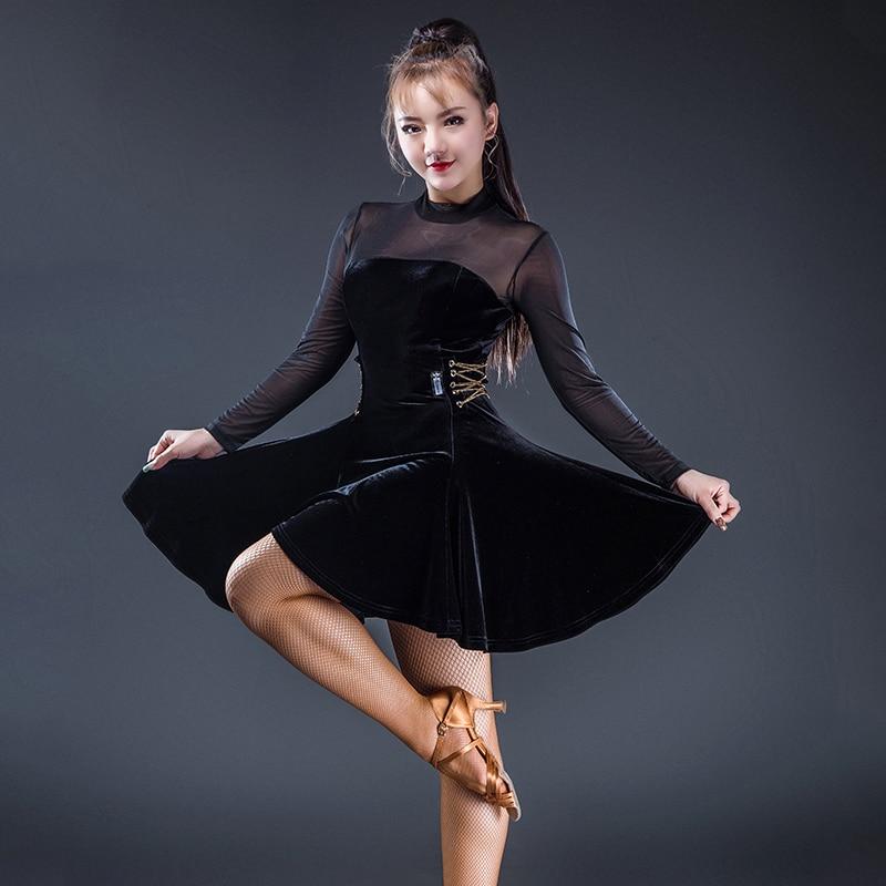 Women Velvet Mesh Bodysuit Latin Dance Dress Rumba Samba Cha Paso Doble Ballroom