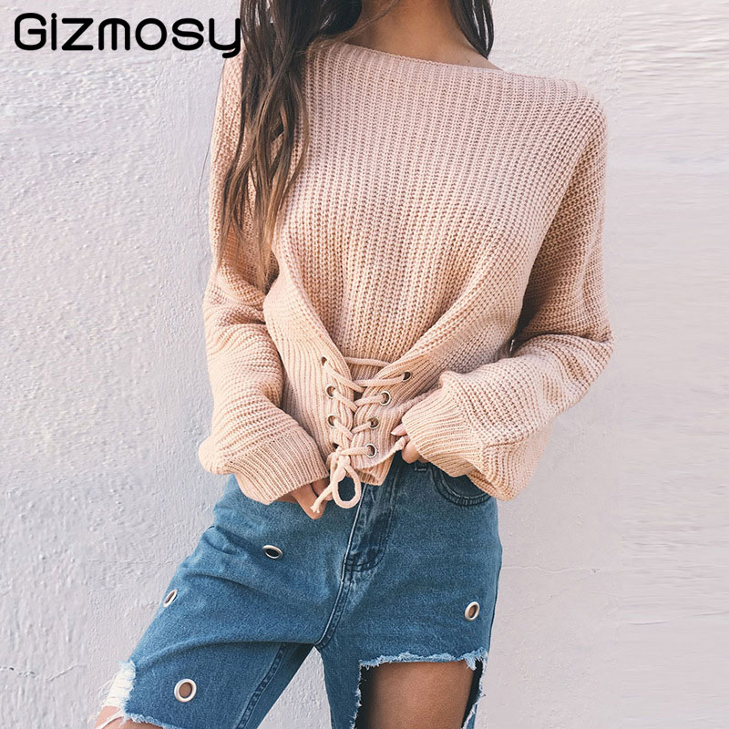 Detail Feedback Questions about Women O Neck Knitted Lace up Sweater  Bandage Cross Ties Pullover Loose Casual Knitwear Jumper Top Sweter Mujer  jacket BN4807 ... f57fbe7ee