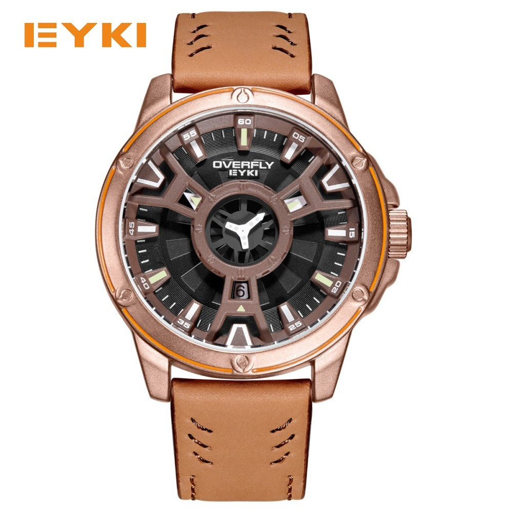 EYKI Cool Double Three-dimensional Dial Sport Watches For Men Leather Strap Waterproof Man Watch 2018 Military Quartz Mens Watch shiweibao cool watch men sport watch men golden big case four time zones military watches date leather strap mens quartz watches