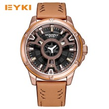 EYKI Cool Double Three-dimensional Dial Sport Watches For Men Leather Strap Waterproof Man Watch 2017 Military Quartz Mens Watch