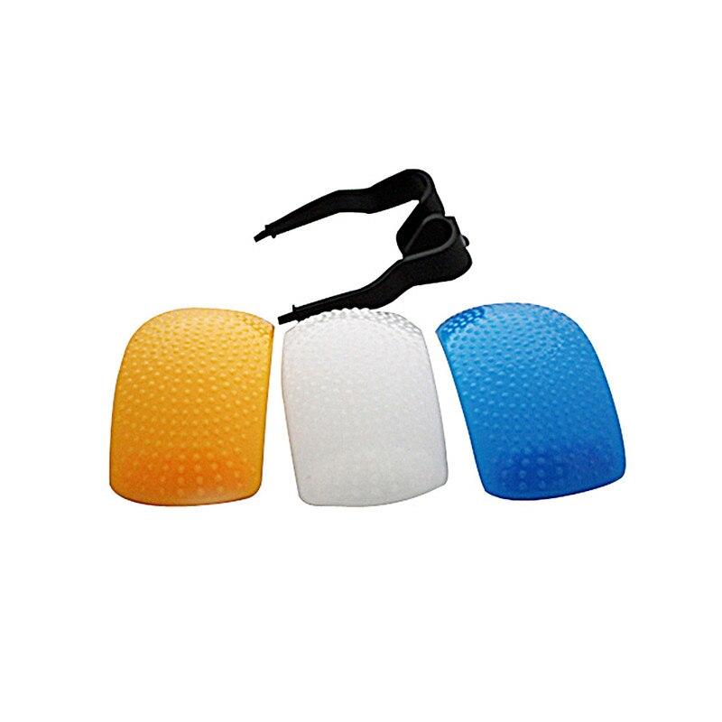 3pcs Puffer 팝업 소프트 스피로 디퓨저 커버 스피드 라이트 캐논 니콘 Pentax 카메라 DSLR 화이트 옐로우 블루 컬러