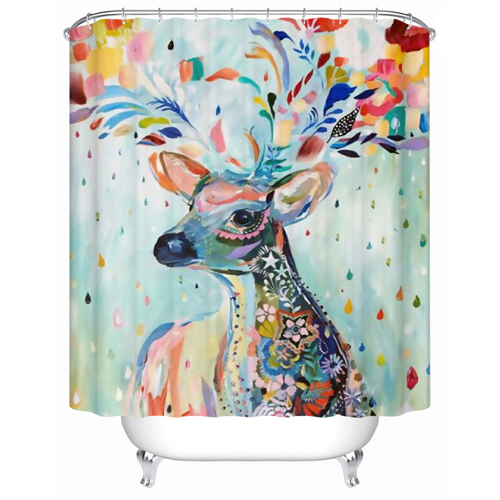 CHARMHOME High Quality Waterproof Colorful Deer Shower Curtains Bathroom  Curtain Acceptable Personalized Custom Shower Curtain(