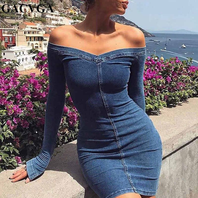 a11d937080 GACVGA Off Shoulder Sashes Cotton Sexy Bodycon Denim Dress Long Sleeve  Strapless Mini Autumn Dress Zipper