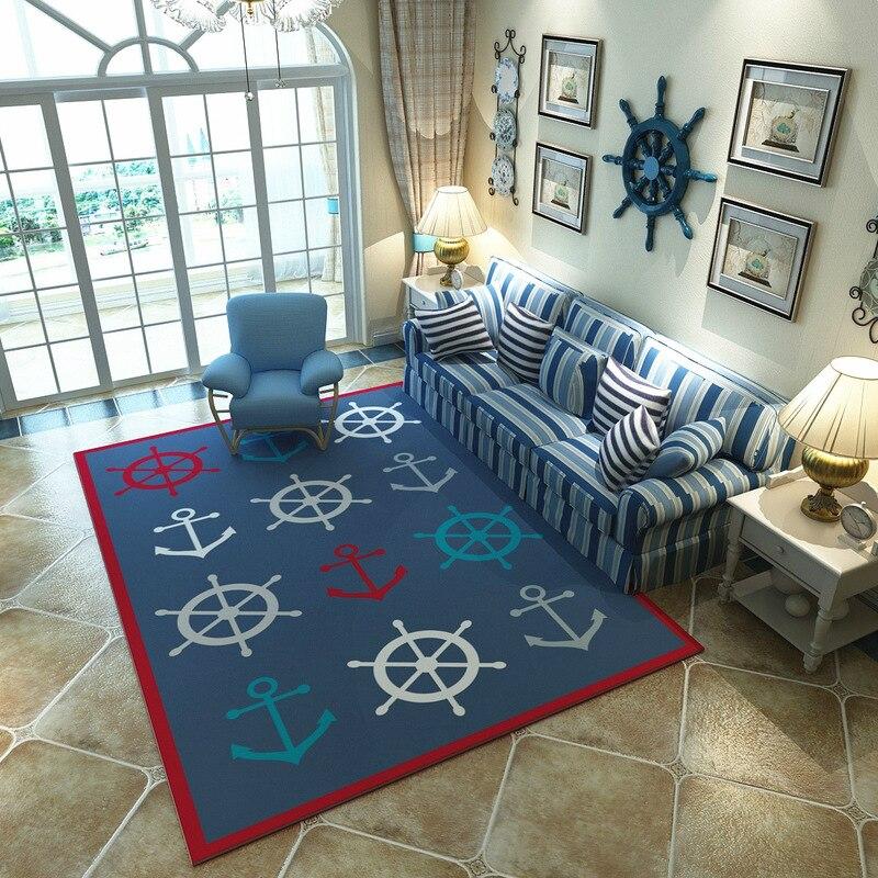 Mediterranean Blue style Carpets Living room coffee table Anchor pattern Printed Rug Modern bedroom Super Soft Flannel Carpet