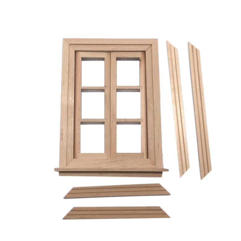 1:12 Dollhouse Furniture Accessories DIY 4Pcs Wooden Windows White Painted