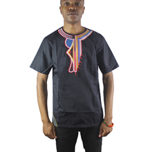 Africa Black Asymmetric Embroidery Men`s Ethnic Tops Side Slit Henley Shirts for Summer Wearing