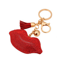 Rhinestone Keychain Lip Leather Tassel Cute Car Key Chain Keyring Cover Holder Purse Handbag Bag Charm Trinket Chaveiro Llaveros