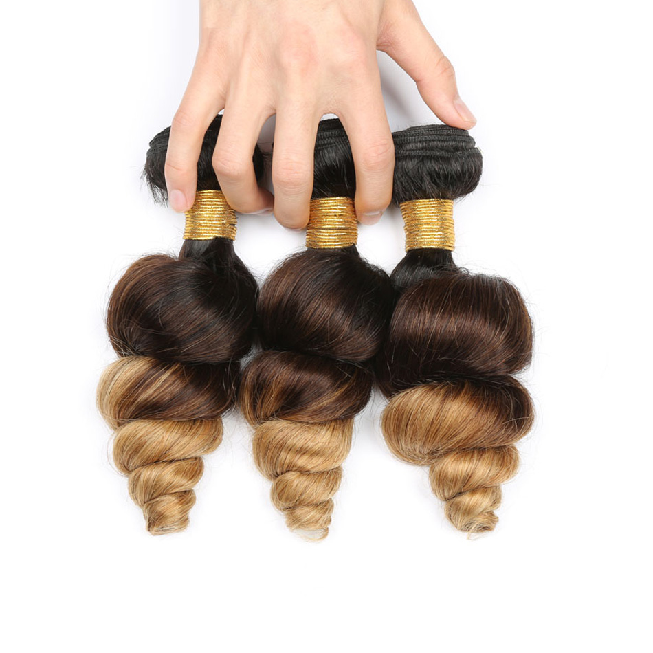 Black Brown Blonde Loose Wave Ombre Peruvian Hair Bundles T1B 4 27 Ombre Human Hair Weave