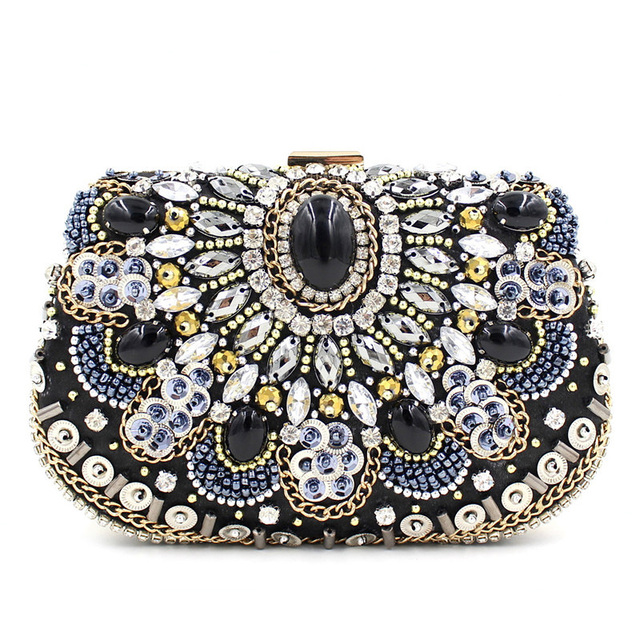 Luxury Handbags Women Bags Designer Women's Beaded Handbag Bridal Duplex Diamond Clutch Chain Evening Bag Shoulder Messenger Bag