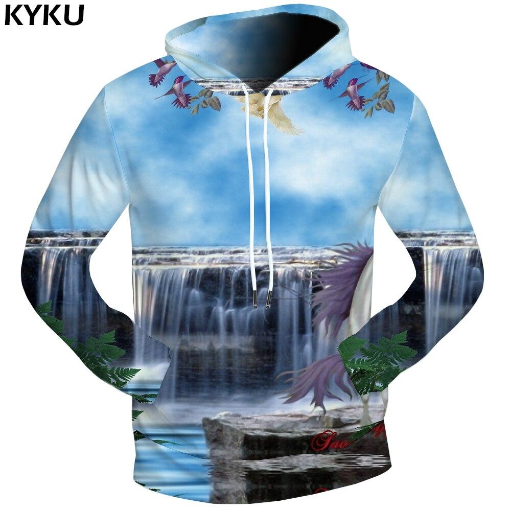 KYKU Unicorn Hoodie Dream Sweatshirts Male Water Clothes Cloud 3d Hoodies Men Sweat Shirt Men Hood Pocket Long Sleeve