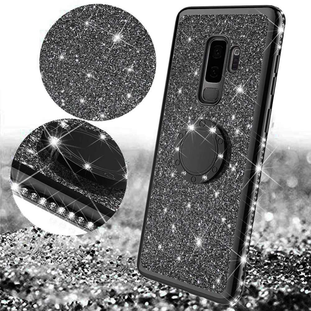 Ultra Thin Soft TPU Gel Case For Samsung Galaxy S9 Plus S9Plus S9+ 3D Bling Plating Clear Cover 360 Magnetic Ring Holder Stand