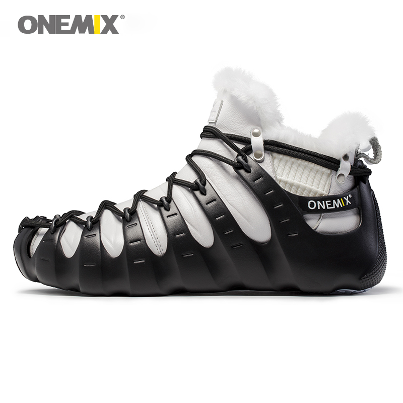 Onemix mens running shoes black outdoor sport sneakers warm wool fur athletic shoes unisex winter three ways of wearing shoes