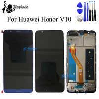 Original Schwarz/Weiß/Blau Für Huawei Ehre V10 Ansicht 10 LCD Display + Touch Screen Digitizer Montage Mit rahmen Kostenlose Tools