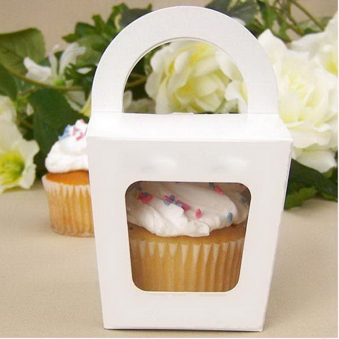 Cupcake Box Cake Box Packaging With Handle Single Cupcake Boxes Pudding Case With Lining  12pcs