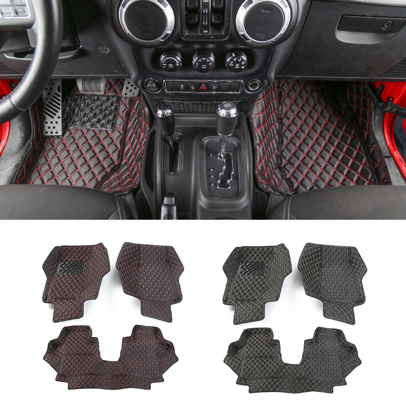 MOPAI Leather 2 Door Car Custom Floor Mats Carpets Foot Pads For Jeep Wrangler 2007 Up Interior Decoration Car Styling for mazda cx 5 cx5 2nd gen 2017 2018 interior custom car styling waterproof full set trunk cargo liner mats tray protector