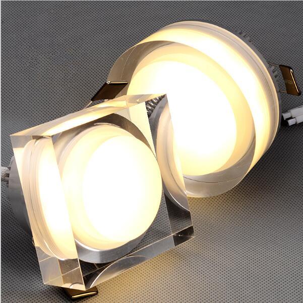 Crystal LED downlight Kerek tér 1W 3W 5W 7W 110-240V süllyesztett fali mennyezeti spotlámpa otthoni dekorációs konyhai otthoni lámpákhoz