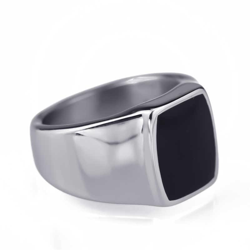 Men Silver Elegant Black Enamel 316L Stainless Steel Ring