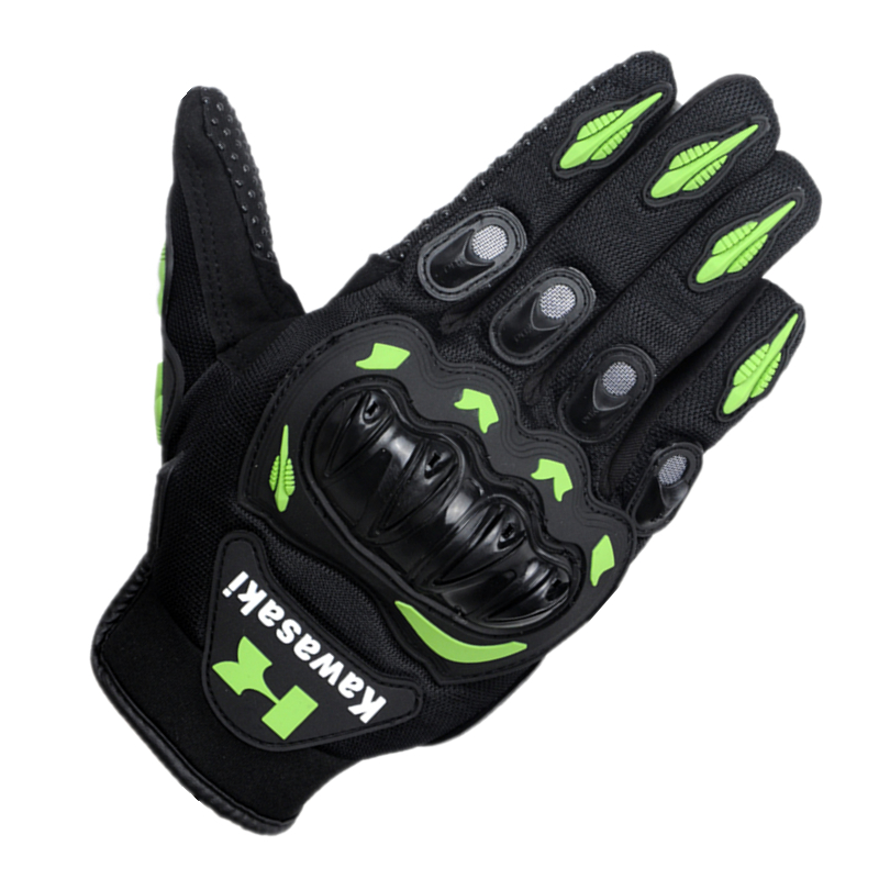 MJMOTO Green <font><b>Kawasaki</b></font> Fashion New Full Finger <font><b>Motorcycle</b></font> <font><b>Gloves</b></font> Motocross Luvas Guantes Moto Protective Gears <font><b>Gloves</b></font> M L XL XXL